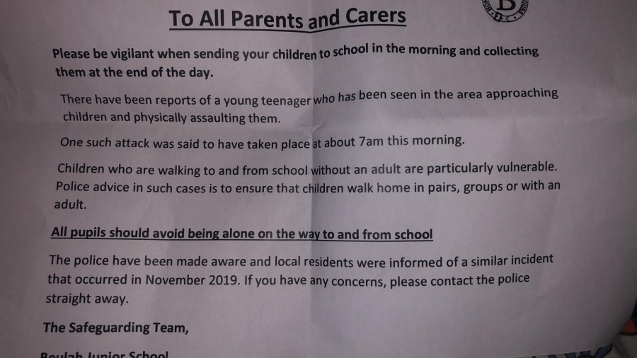 Pupils told not to walk to school alone