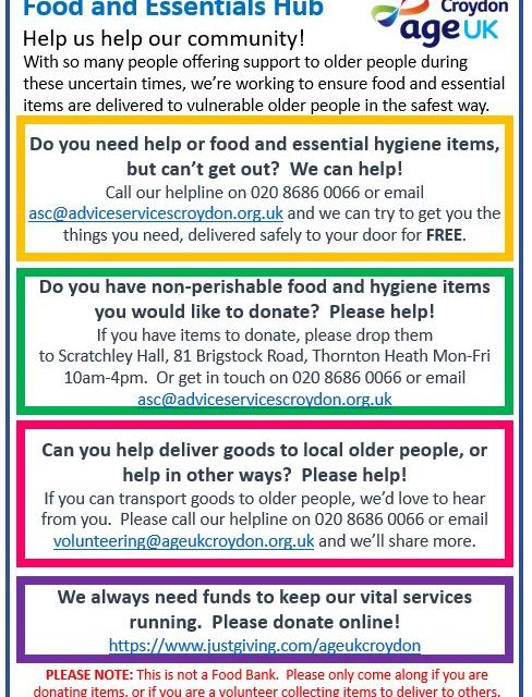 Support needed for Croydon Age UK