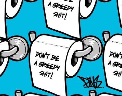 Artist's loo roll inspired lockdown prints