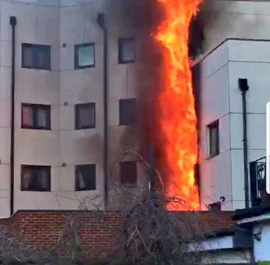 Crystal Court Residents Evacuated as Building Engulfed in Flames