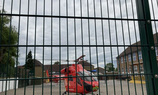 Helicopter lands in playground after five hour emergency drama