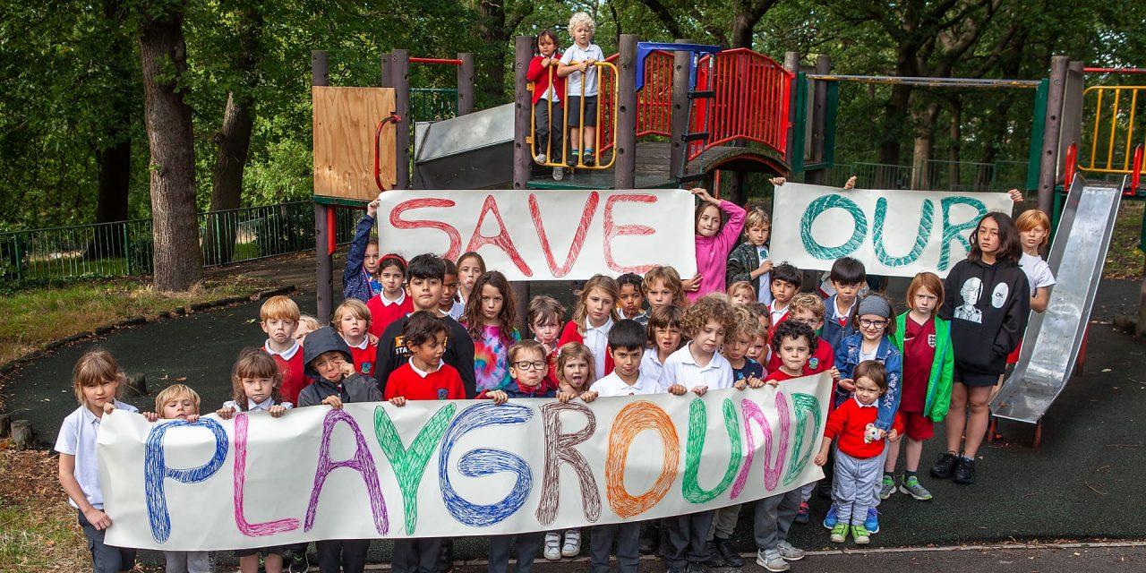 Children demo to save 'dangerous' playground
