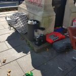 Historic clocktower graffitied and fly tipped
